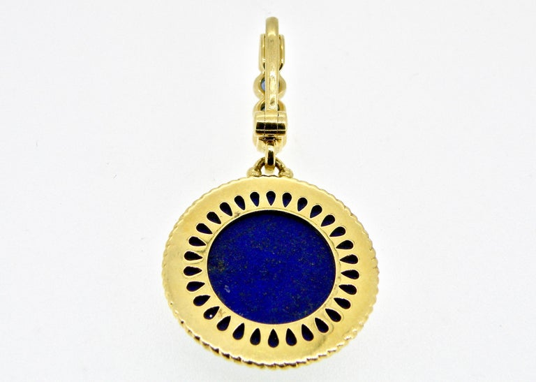 18 Karat Engraved Lapis Lazuli and Sapphire Pendant In New Condition For Sale In Cohasset, MA