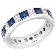18 Karat Eternity Gold Band Princess Blue Sapphire Princess Diamond 4.80 Carat