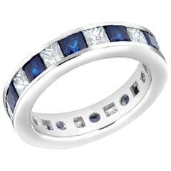 18 Karat Eternity Gold Band Princess Blue Sapphire Princess Diamond 4.80 Carat