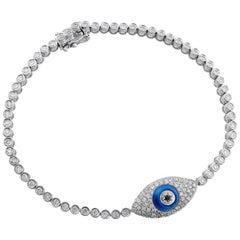CJ Charles 18 Karat Evil Eye Pave Diamond Bracelet