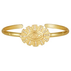 18 Karat Eye with Divine Rays, on a Solid Cuff with White Diamonds
