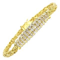 18 Karat Fancy Link Diamond Bar Bracelet