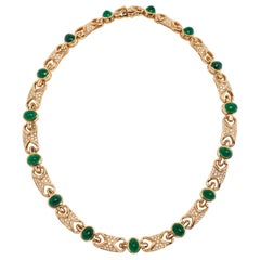 18 Karat Fine Cabochon Emerald and Diamond Necklace