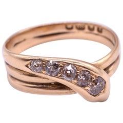 18 Karat Five Diamond Studded Snake Ring HM 1894
