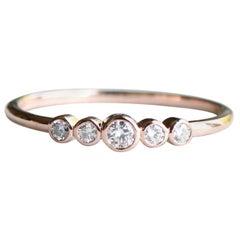 18 Karat Five Stone Diamonds Ring, Rose Gold Ring, Stacking Ring