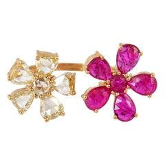 Ruby Diamond 18 Karat Gold Floral Ring