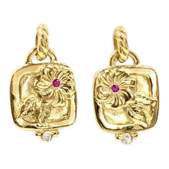 18 Karat Floral Earrings with Diamonds and Pink Sapphires