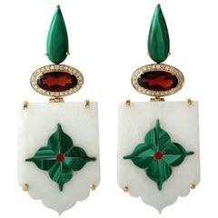 18 Karat Floral Inlay Malachite Garnet and Diamond Earrings