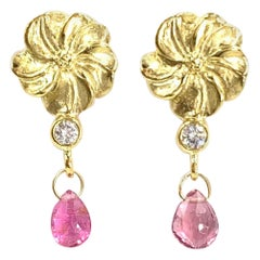 18 Karat Flower Drop Earrings with Diamonds and Pink Tourmalines