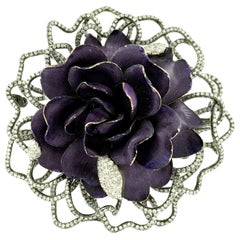 18kt Enamel Flower Diamond Brooch