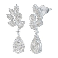 18 Karat Flower/Pear Shape Drop Earrings