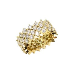 18 Karat Four-Row Diamond Eternity Wide Ring
