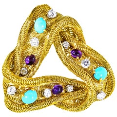 18 Karat French Turquoise, Amethyst and Diamond Double Clip Brooch, circa 1960