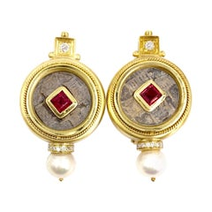18 Karat Gemstone and Diamond Coin Earrings