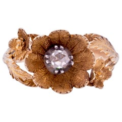 18 Karat Georgian Flower and Rose Diamond Ring, circa 1830