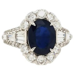 18 Karat GIA Certified 2.70 Carat Oval Sapphire and Diamond Ring White Gold