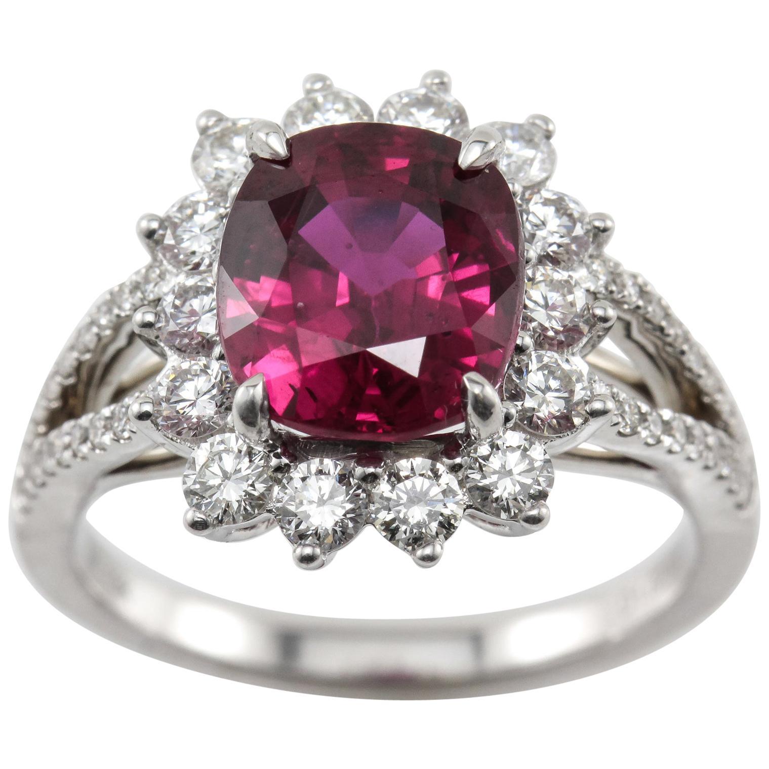 18 Karat GIA Certified 3.80 Carat Natural Ruby Diamond Halo Ring White Gold