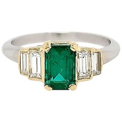 18 Karat GIA Certified .99 Carat Emerald Diamond Ring White and Yellow Gold