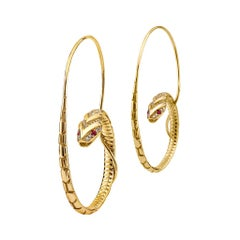 18 Karat Gold, 0.10 Carat Sapphire and 0.34 Carat Diamond Snake Hoop Earrings