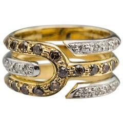 Modern 18 Karat Gold 0.14 White 0.18 Karat Brown Diamonds Tuning Fork Band Ring