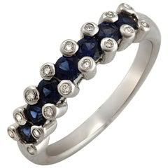18 Karat Gold 0.16 Carat Diamonds and 0.86 Carat Blue Sapphire Wedding Band Ring