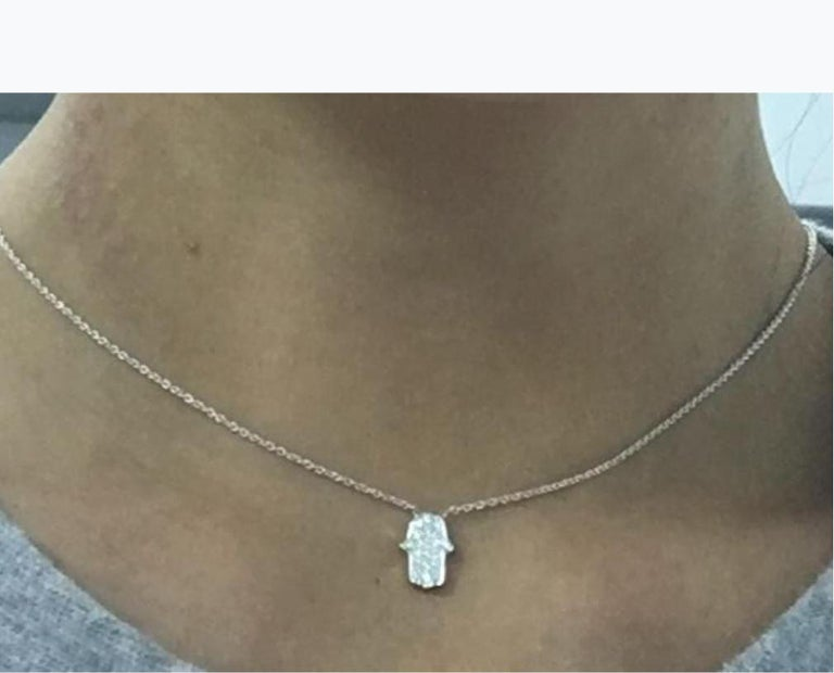 Gemstone: White Diamond - Diamond Charm Necklace, Unique Diamond Dainty Necklace Diamond Shape:  Round Brilliant   Composition: Solid White Gold 18k Diamond Carat Weight: 0.16 cts Color:  F Average Clarity: VS Gold weight: 2.96 Natural Conflict-free