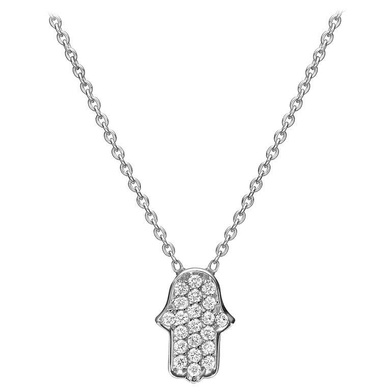 18 Karat Gold, 0.16 Carat, F Color, VS Clarity, Diamond Crusted Hamsa Pendant For Sale