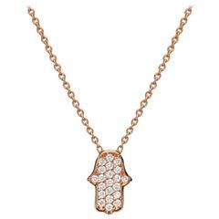 18 Karat Gold, 0.16 Carat, F Color, VS Clarity, Diamond Crusted Hamsa Pendant
