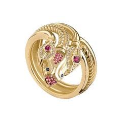 18 Karat Gold, 0.20 Carat Ruby, Sapphire and Diamond Three-Headed Snake Ring