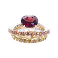 18 Karat Gold 0.23 Karat Diamonds 3 Karat Tangerine Sapphires Garnet Ring