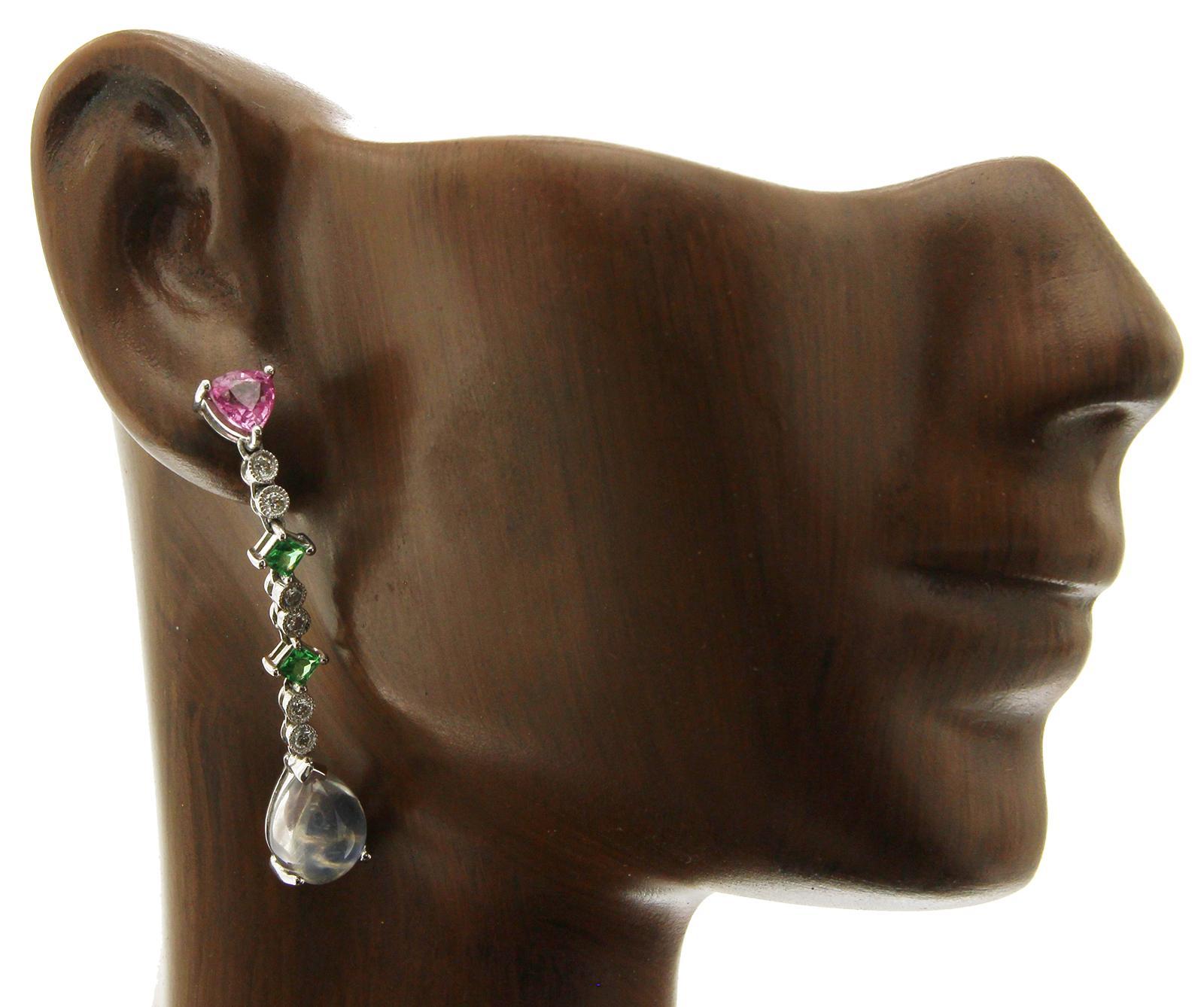 a45462f4228 18 Karat Gold 0.24 Carat Diamonds and 6.05 Carat Multi Stones Drop Earring  BL124 For Sale at 1stdibs