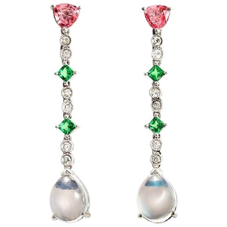7345494d1ef 18 Karat Gold 0.24 Carat Diamonds and 6.05 Carat Multi Stones Drop Earring  BL124 For Sale