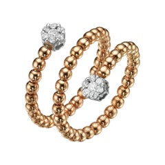 18 Karat Gold, 0.25 Carat, F Color, VS Clarity, Diamond Spiral Bubble Ring