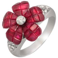 18 Karat Gold 0.29 Carat Diamonds and Invisible 6.85 Carat Ruby Flower Ring