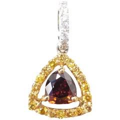 18 Karat Gold 0.37 Carat Brown Red Orange Heart and White Diamonds Pendant GIA