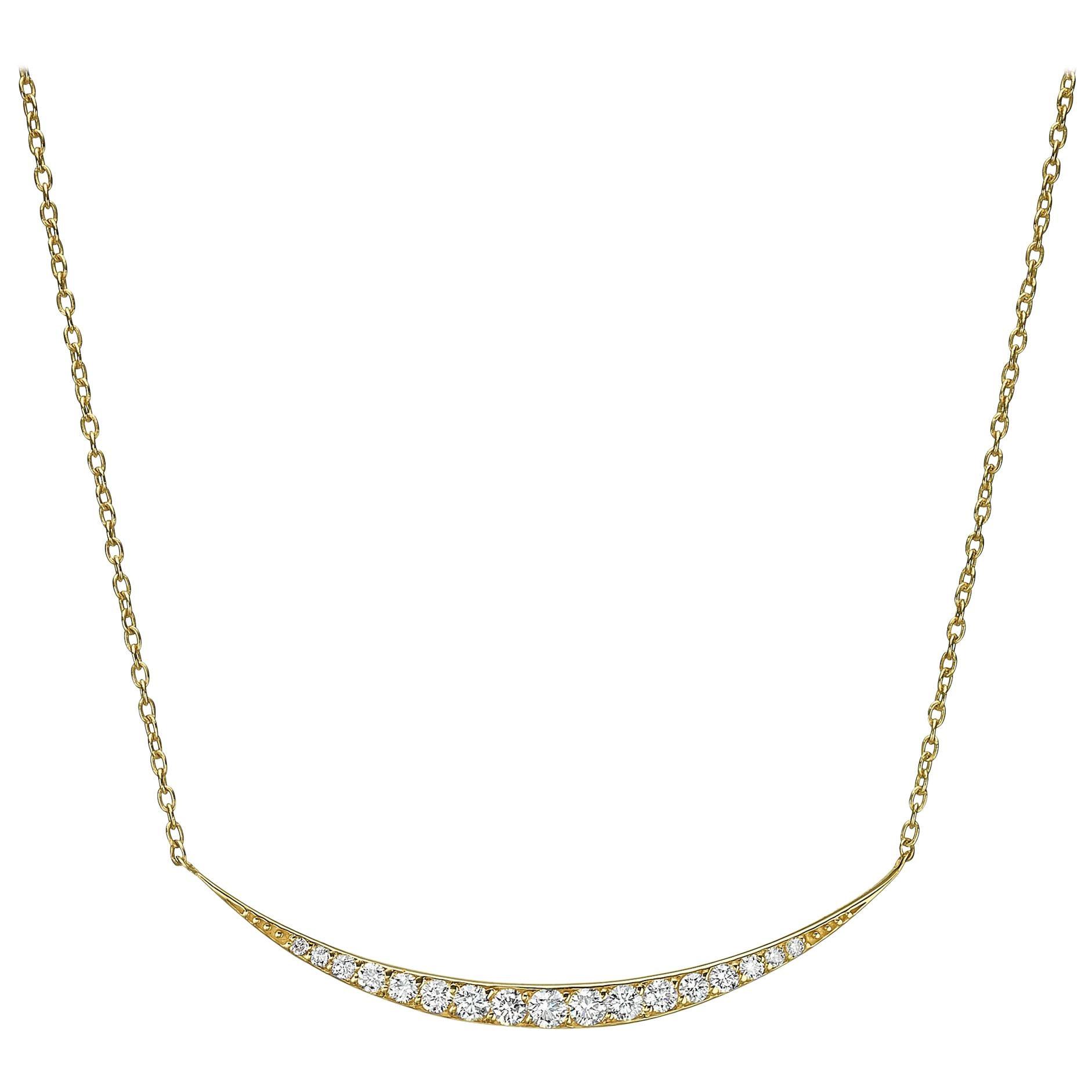 18 Karat Gold, 0.40 Carat, F Color, VS Clarity, Crescent Diamond Crusted Pendant
