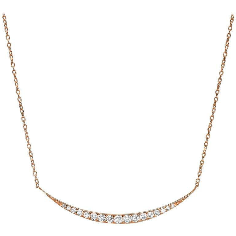 18 Karat Gold, 0.40 Carat, F Color, VS Clarity, Crescent Diamond Crusted Pendant For Sale