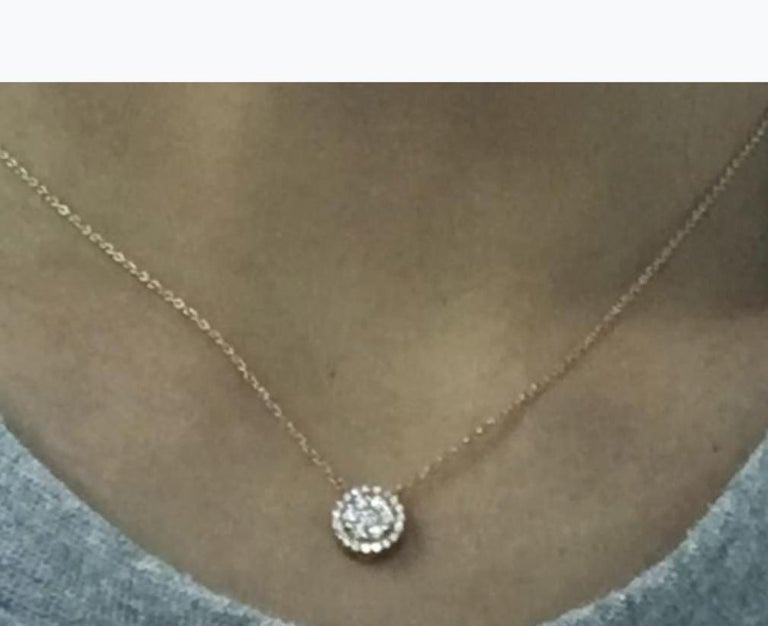 Women's or Men's 18 Karat Gold, 0.40 Carat, F Color, VS Clarity, Diamond Crusted Flower Pendant For Sale
