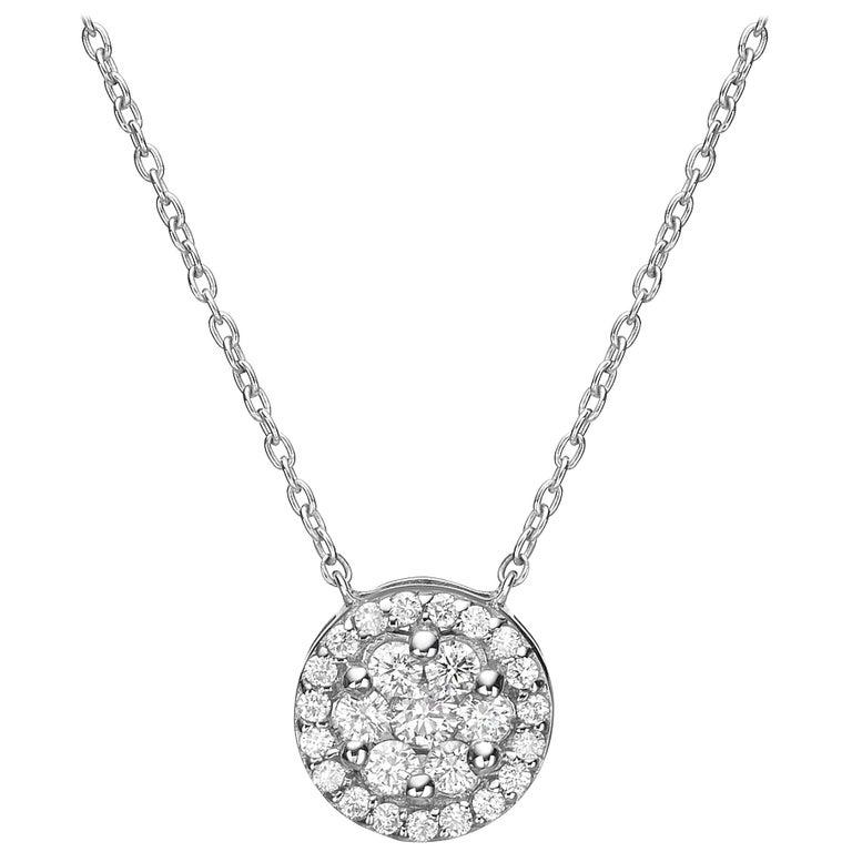 18 Karat Gold, 0.40 Carat, F Color, VS Clarity, Diamond Crusted Flower Pendant For Sale