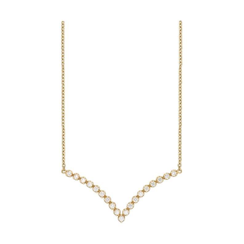 18 Karat Gold, 0.41 Carat, F Color, VS Clarity, Diamond Crusted V Shape Pendant