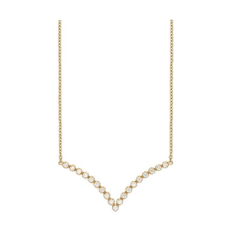 18 Karat Gold, 0.41 Carat, F Color, VS Clarity, Diamond Crusted V Shape Pendant For Sale