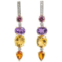 18 Karat Gold 0.44 Karat White Diamonds Amethyst Citrine Earrings