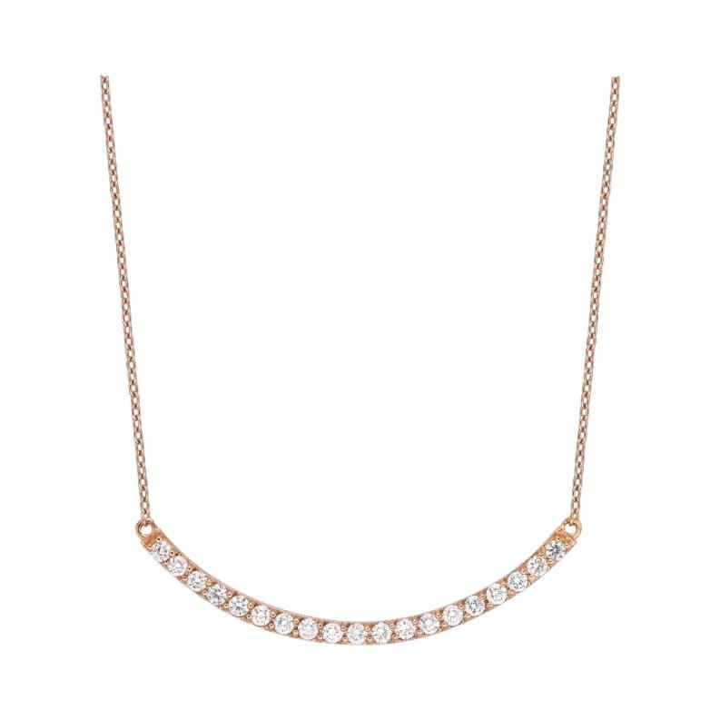 18 Karat Gold, 0.47 Carat, F Color, VS Clarity, Crescent Diamond Crusted Pendant