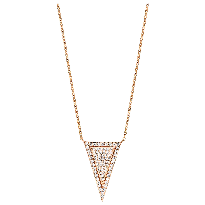 18 Karat Gold, 0.49 Carat, F Color, VS Clarity, Diamond Triangle Shape Pendant