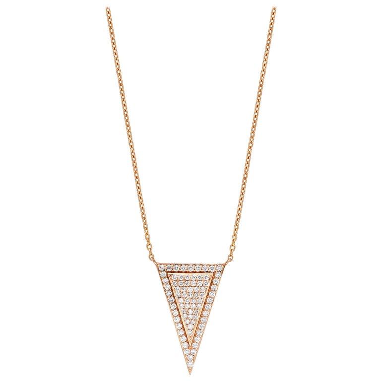18 Karat Gold, 0.49 Carat, F Color, VS Clarity, Diamond Triangle Shape Pendant For Sale