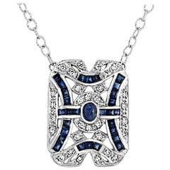 18 Karat Gold 0.51 Carat Diamonds 3.15 Carat Blue Sapphire Art Deco Necklace