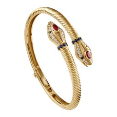 18 Karat Gold, 0.53 ct Sapphire, 0.85 ct Ruby and 0.69 ct Diamond Snake Bangle