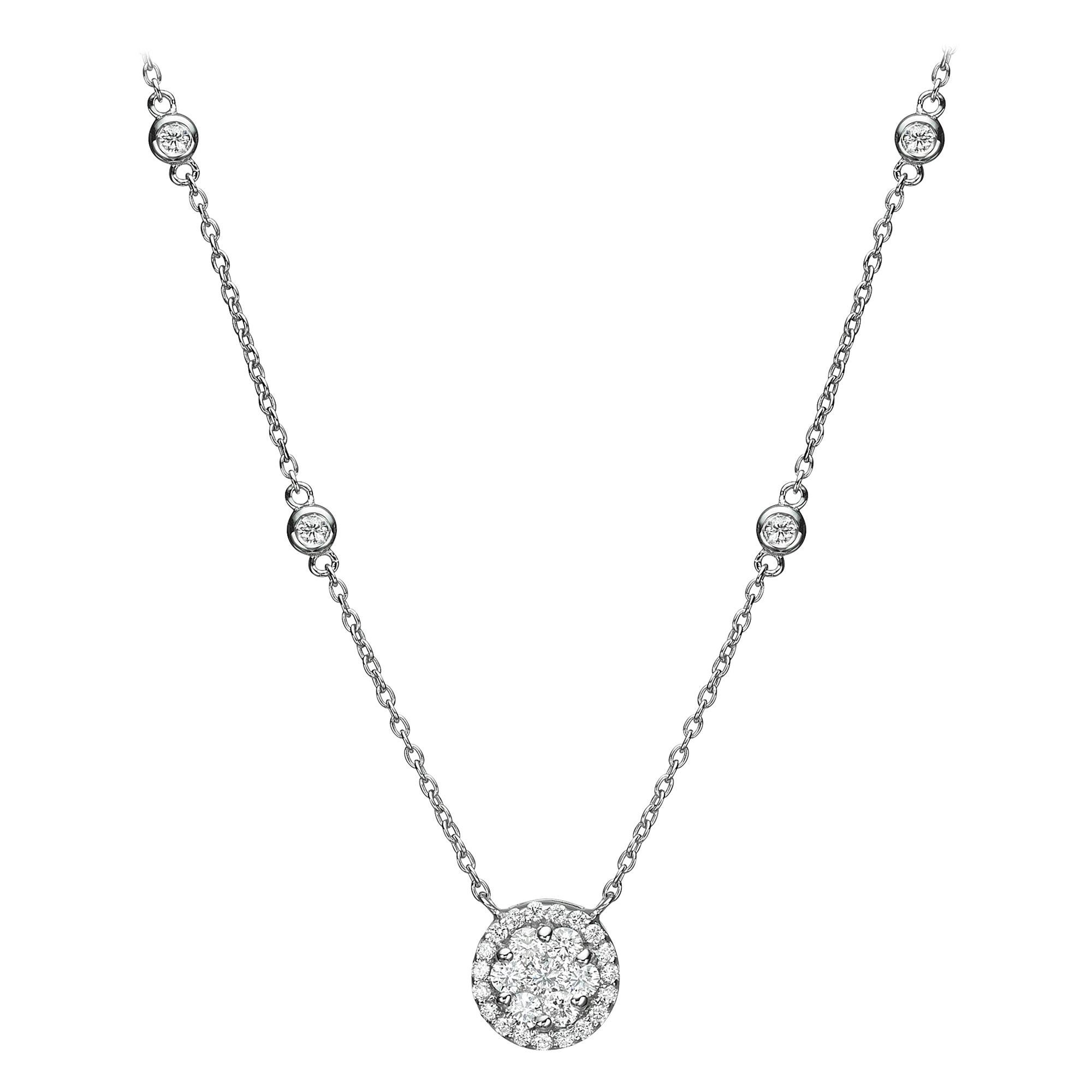 18 Karat Gold, 0.69 Carat, F Color, VS Clarity, Diamond Crusted Flower Pendant