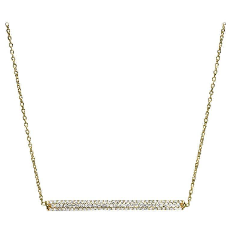 18 Karat Gold, 0.70 Carat, F Color, VS Clarity, Diamond Horizontal Bar Pendant For Sale