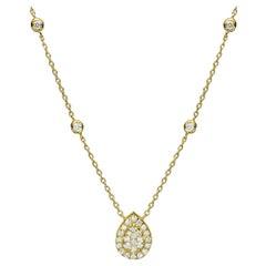 18 Karat Gold, 0.70 Carat, F Color, VS Clarity, Diamond Horizontal Bar Pendant